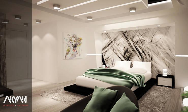 MASTER BEDROOM :  فنادق تنفيذ AKYAN, حداثي مزيج خشب وبلاستيك