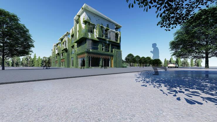 民宿外觀(植生牆模擬):  度假別墅 by 尋樸建築師事務所, 現代風