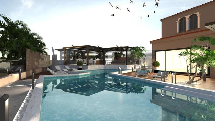 مسبح حديقة تنفيذ Saif Mourad Creations, حداثي