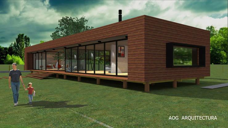 CASA PV: Casas unifamiliares de estilo  por AOG, Mediterráneo Derivados de madera Transparente