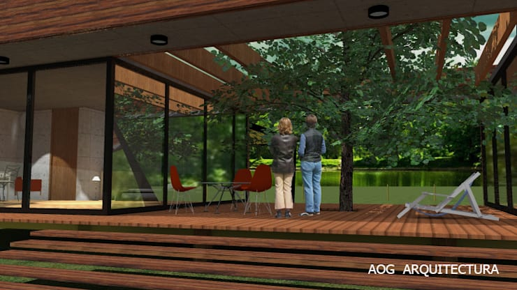 CASA PV: Casas de madera de estilo  por AOG, Mediterráneo Derivados de madera Transparente