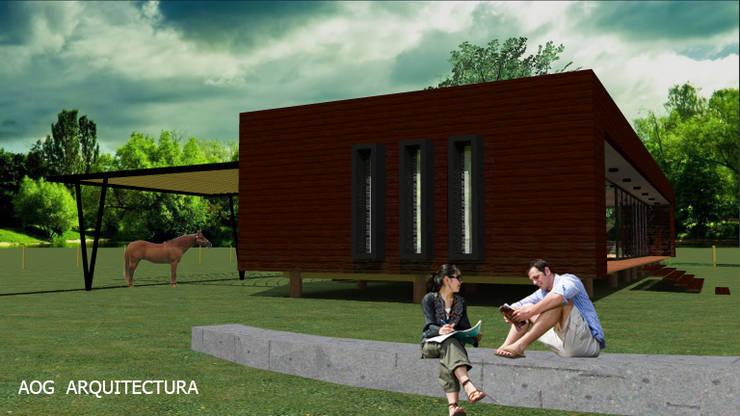 CASA PV: Casas de estilo  por AOG, Mediterráneo Derivados de madera Transparente