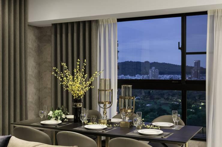 堅山-仰翠:  餐廳 by 雅群空間設計, 現代風