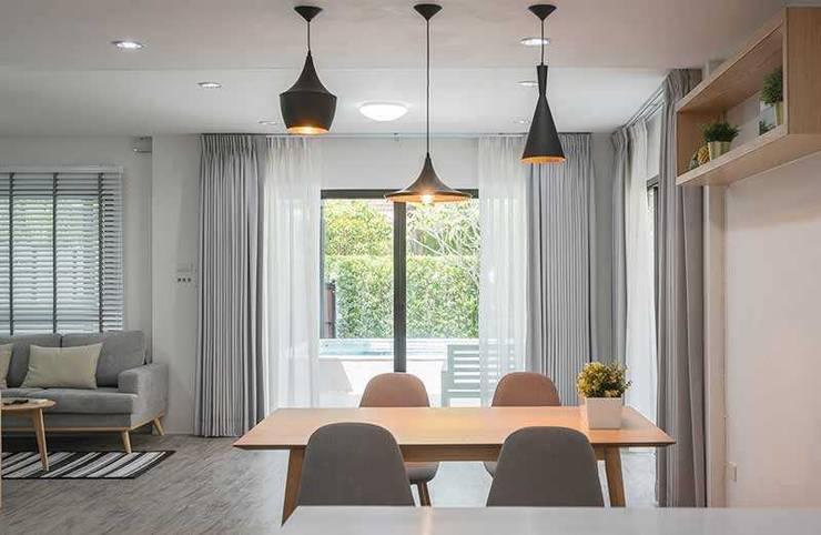Rèm vải phòng ăn: hiện đại  by Avinahome, Hiện đại Vải lanh / vải lanh Pink