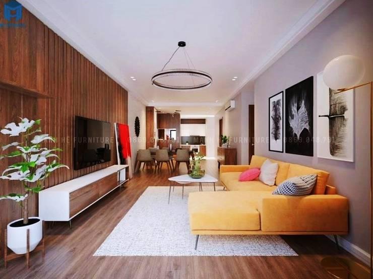 Thiết kế nội thất căn hộ cao cấp ECO GREEN SAI GON – 97m2 – 3 phòng ngủ:  Phòng khách by Công ty TNHH Nội Thất Mạnh Hệ, Hiện đại Gỗ Wood effect