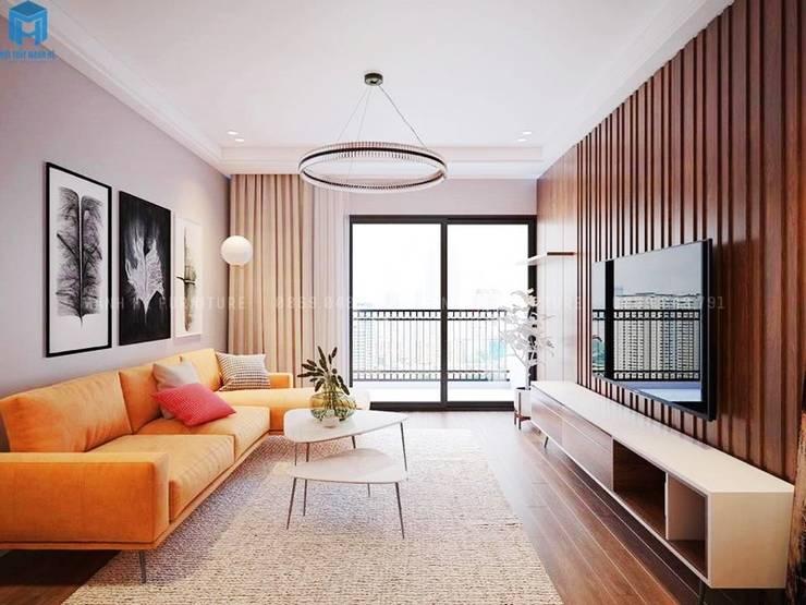 Thiết kế nội thất căn hộ cao cấp ECO GREEN SAI GON - 97m2 - 3 phòng ngủ:  Phòng khách by Công ty TNHH Nội Thất Mạnh Hệ, Hiện đại Gỗ Wood effect