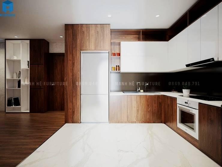 Thiết kế nội thất căn hộ cao cấp ECO GREEN SAI GON – 97m2 – 3 phòng ngủ:  Tủ bếp by Công ty TNHH Nội Thất Mạnh Hệ, Bắc Âu Gỗ Wood effect