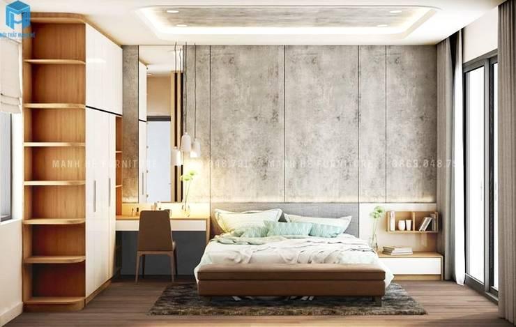 Thiết kế nội thất căn hộ cao cấp ECO GREEN SAI GON – 97m2 – 3 phòng ngủ:  Phòng ngủ by Công ty TNHH Nội Thất Mạnh Hệ, Hiện đại