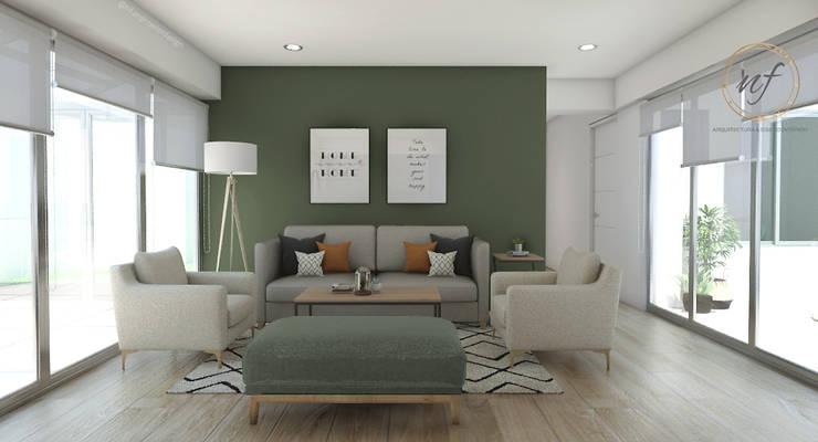 Propuesta Sala Principal : Salas / recibidores de estilo  por NF Diseño de Interiores , Escandinavo
