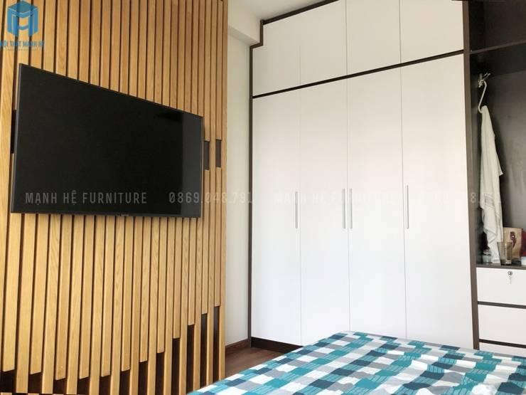 Tủ quần áo 4 buồng cửa mở:  Phòng ngủ by Công ty TNHH Nội Thất Mạnh Hệ, Hiện đại Gỗ thiết kế Transparent