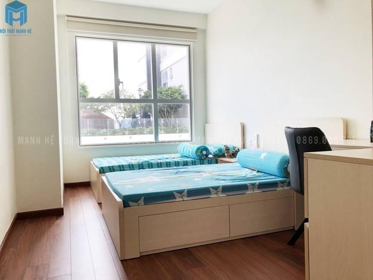 Giường ngủ đôi đẹp, đơn giản:  Phòng ngủ nhỏ by Công ty TNHH Nội Thất Mạnh Hệ, Hiện đại Đá sa thạch