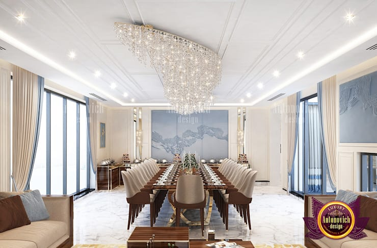 "Luxurious Dining Room with Great Furniture Arrangement: {:asian=>""asian"", :classic=>""classic"", :colonial=>""colonial"", :country=>""country"", :eclectic=>""eclectic"", :industrial=>""industrial"", :mediterranean=>""mediterranean"", :minimalist=>""minimalist"", :modern=>""modern"", :rustic=>""rustic"", :scandinavian=>""scandinavian"", :tropical=>""tropical""}  by Luxury Antonovich Design,"