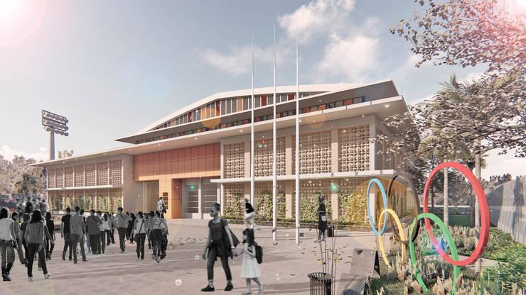 Coliseo Luis Yarzagaray.  Arjona - Cartagena: Gimnasios  de estilo  por Oleb Arquitectura & Interiorismo, Tropical