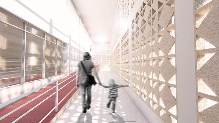 Coliseo Luis Yarzagaray.  Arjona – Cartagena: Pasillos y vestíbulos de estilo  por Oleb Arquitectura & Interiorismo, Tropical