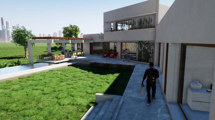 Fachada interior: Casas de estilo  por Casas del Girasol- arquitecto Viña del mar Valparaiso Santiago, Mediterráneo