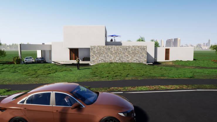 Fachada a la calle: Casas de estilo  por Casas del Girasol- arquitecto Viña del mar Valparaiso Santiago, Mediterráneo