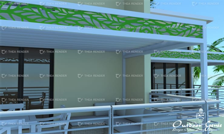 Pergola de Sol With Gutters and Lazer cut deco panel:  Patios by Outdoor Genie, Modern