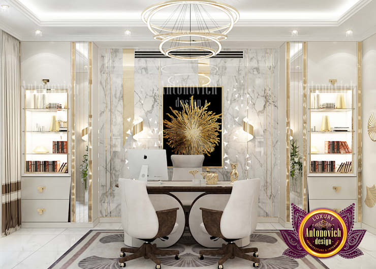 "Luxurious Home Office Interior with Stunning Furniture Set: {:asian=>""asian"", :classic=>""classic"", :colonial=>""colonial"", :country=>""country"", :eclectic=>""eclectic"", :industrial=>""industrial"", :mediterranean=>""mediterranean"", :minimalist=>""minimalist"", :modern=>""modern"", :rustic=>""rustic"", :scandinavian=>""scandinavian"", :tropical=>""tropical""}  by Luxury Antonovich Design,"