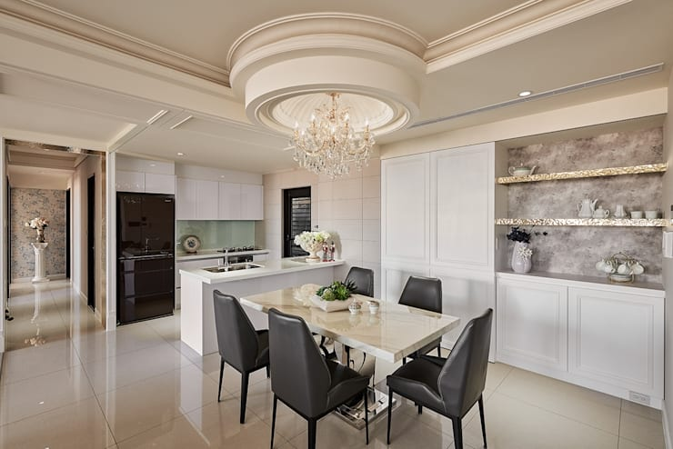 廚房與餐廳:  餐廳 by 趙玲室內設計, 古典風