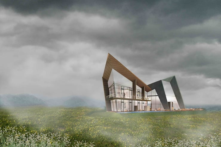 民宿外觀:  飯店 by 亚卡默设计 Akuma Design , 現代風 水泥