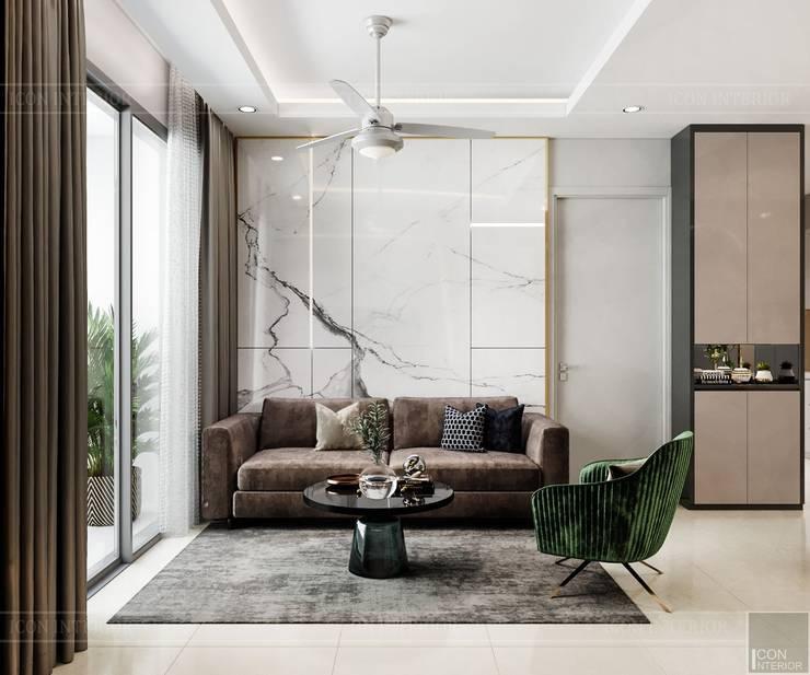 Thiết kế nội thất căn hộ SAIGONMIA – Khoảng trời của riêng tôi:  Phòng khách by ICON INTERIOR, Hiện đại