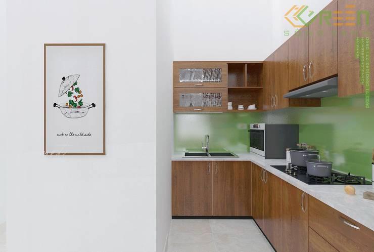 Nhà Chị Huyền Bình Định:  Bếp nhỏ by Công ty TNHH Thiết Kế Xây Dựng Xanh Hoàng Long, Châu Á Bần