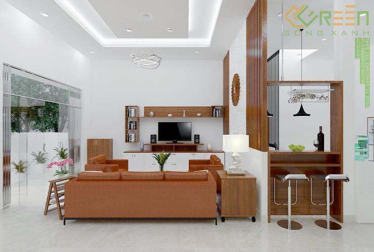 Nhà Chị Huyền Bình Định:  Phòng khách by Công ty TNHH Thiết Kế Xây Dựng Xanh Hoàng Long, Châu Á Bần