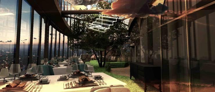自然下餐飲區與送餐區:  餐廳 by 亚卡默设计 Akuma Design , 現代風 塑木複合材料