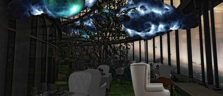 浪漫兩人餐飲區:  餐廳 by 亚卡默设计 Akuma Design , 現代風 塑木複合材料