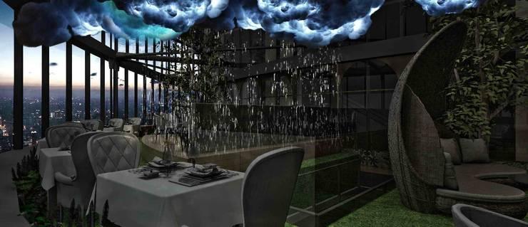 時尚餐飲區:  酒吧&夜店 by 亚卡默设计 Akuma Design , 現代風 金屬