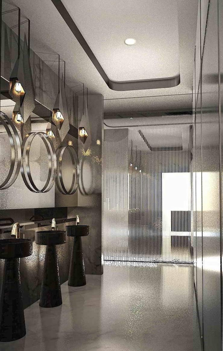 時尚簡約廁所:  餐廳 by 亚卡默设计 Akuma Design , 現代風 金屬