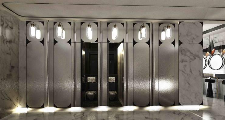 簡約單間廁所:  酒吧&夜店 by 亚卡默设计 Akuma Design , 現代風 金屬
