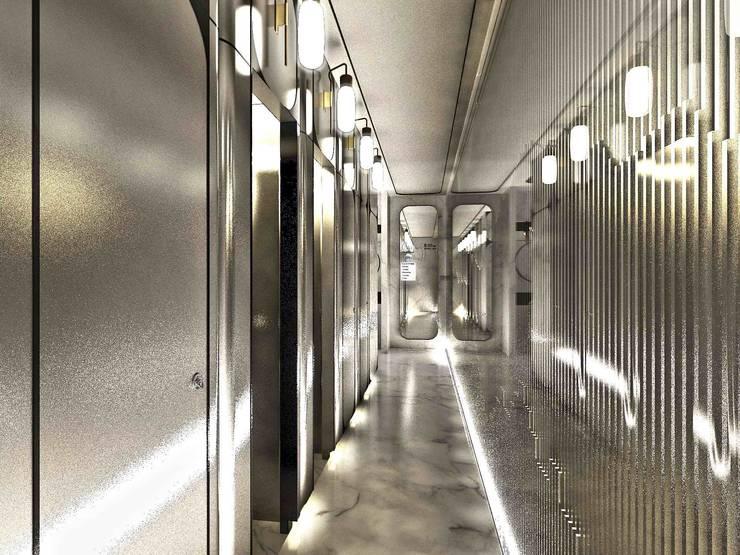時尚廁所:  餐廳 by 亚卡默设计 Akuma Design , 現代風 金屬