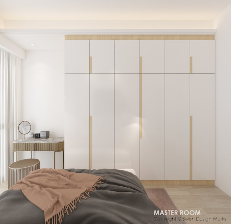Bedroom wardrobe:  Small bedroom by Swish Design Works,Modern Plywood