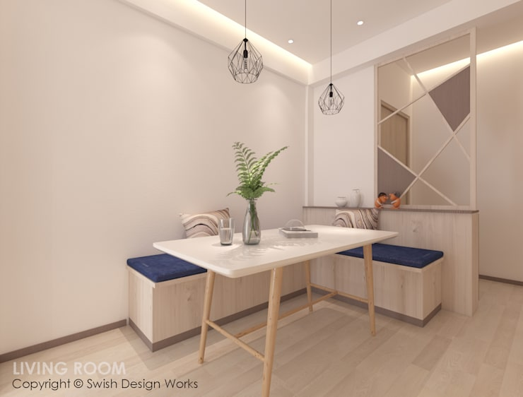 Dining area:  Dining room by Swish Design Works,Modern Plywood