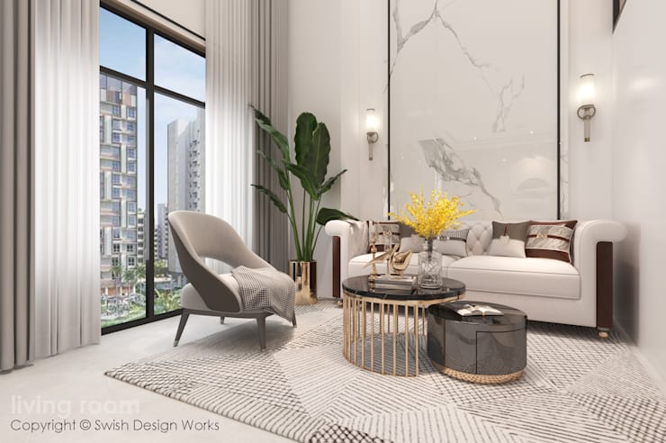 Living area:  Living room by Swish Design Works,Modern Marble