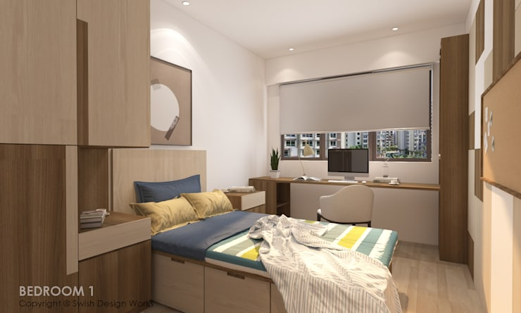 Bedroom:  Small bedroom by Swish Design Works,Modern Plywood