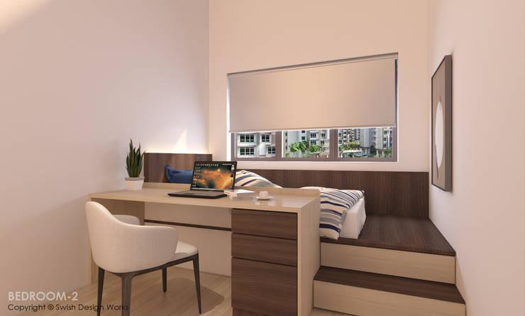 Bedroom platform bed:  Small bedroom by Swish Design Works,Modern Plywood