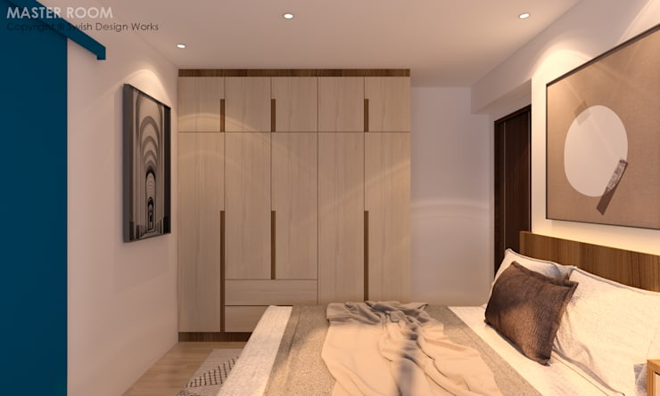 Bedroom wardrobe:  Small bedroom by Swish Design Works,Modern Plywood