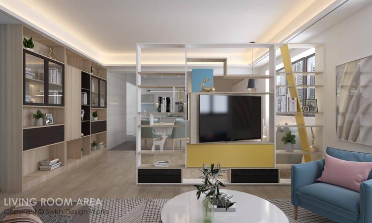 Swivel TV:  Living room by Swish Design Works,Modern Plywood