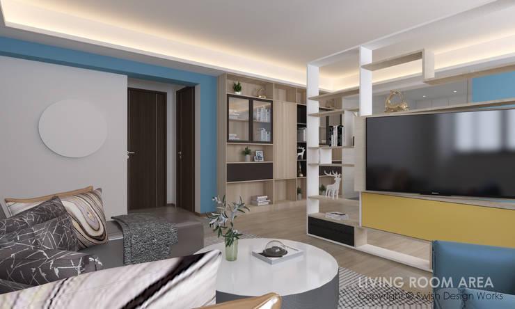 Living room:  Living room by Swish Design Works,Modern Plywood