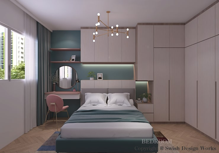 Master bedroom:  Small bedroom by Swish Design Works,Modern Plywood