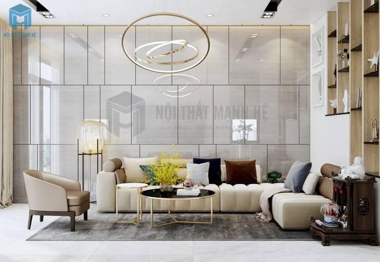 Phòng khách hiện đại với những đường nét tinh tế:  Phòng khách by Công ty TNHH Nội Thất Mạnh Hệ, Hiện đại Gỗ Wood effect