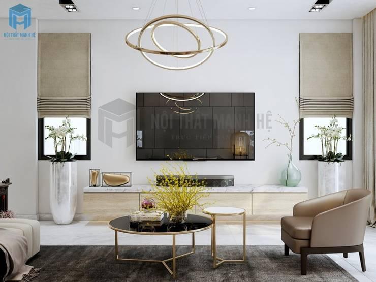 Nhờ khung cửa lớn và hai cửa sổ nhỏ nên ánh sáng có thể len lỏi vào mọi ngóc ngách trong căn phòng và giúp không gian được khai thác triệt để:  Phòng khách by Công ty TNHH Nội Thất Mạnh Hệ, Hiện đại Gỗ Wood effect