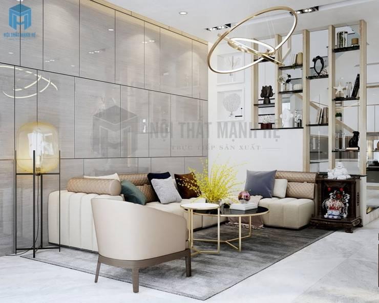 Phòng khách được thiết kế bằng các gam màu trung tính:  Phòng khách by Công ty TNHH Nội Thất Mạnh Hệ, Hiện đại Gỗ thiết kế Transparent