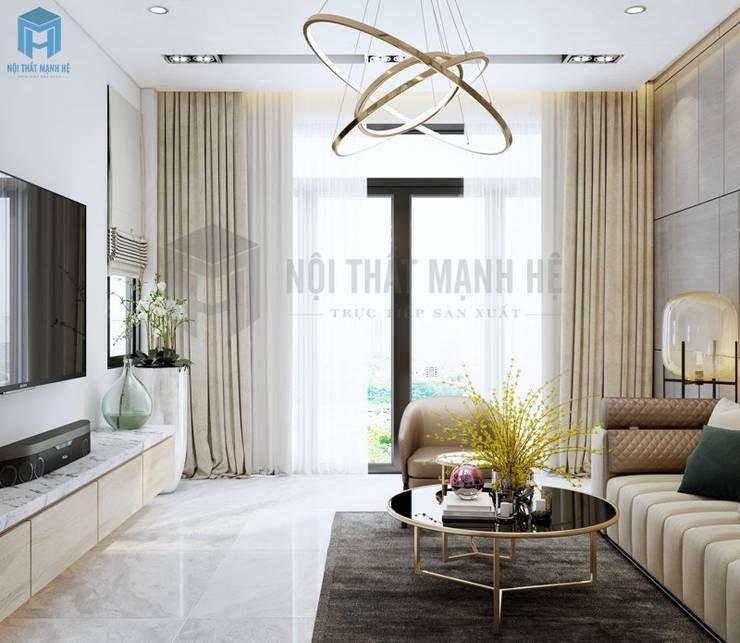 Những giây phút bình yên được đem lại từ chính ngôi nhà của bạn:  Phòng khách by Công ty TNHH Nội Thất Mạnh Hệ, Hiện đại Gỗ Wood effect