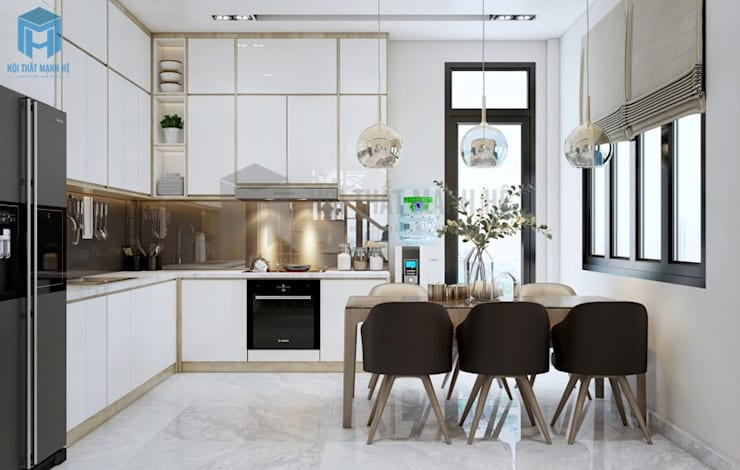Không gian bếp thoáng đãng, tiện nghi:  Nhà bếp by Công ty TNHH Nội Thất Mạnh Hệ, Hiện đại Gỗ thiết kế Transparent