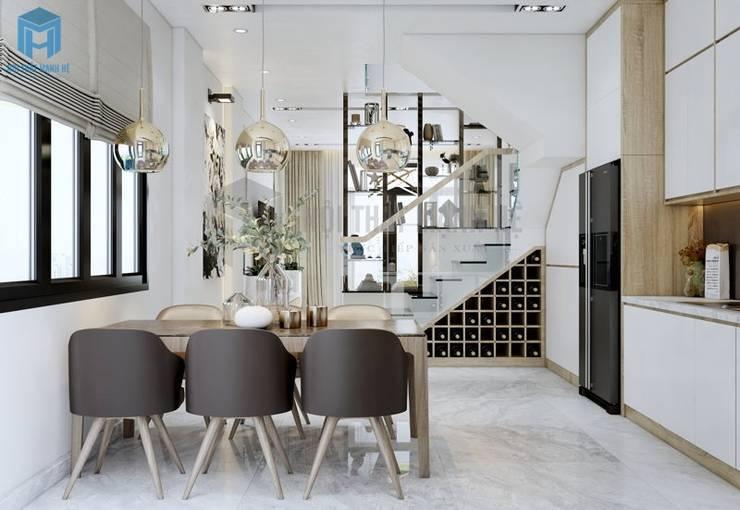 Thiết kế nội thất phòng bếp thông minh đảm bảo đầy đủ sự tiện nghi:  Phòng ăn by Công ty TNHH Nội Thất Mạnh Hệ, Hiện đại Cao su