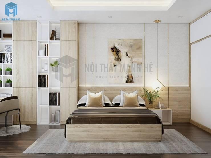 Thiết kế phòng ngủ ấm áp, hiện đại, gam màu trung tính đem lại cảm xúc tích cực cho gia chủ:  Phòng ngủ nhỏ by Công ty TNHH Nội Thất Mạnh Hệ, Hiện đại Đá sa thạch