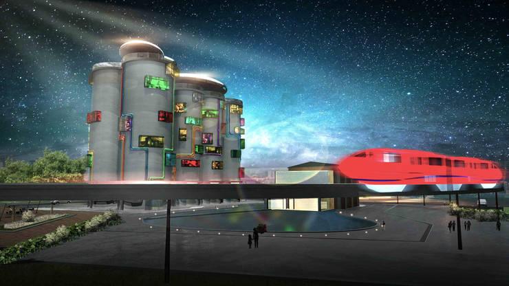 飯店外觀設計:  飯店 by 亚卡默设计 Akuma Design , 現代風 水泥